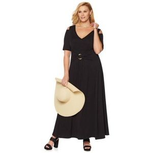 Liz Lange Black Stretch Cold Shoulder Maxi Dress